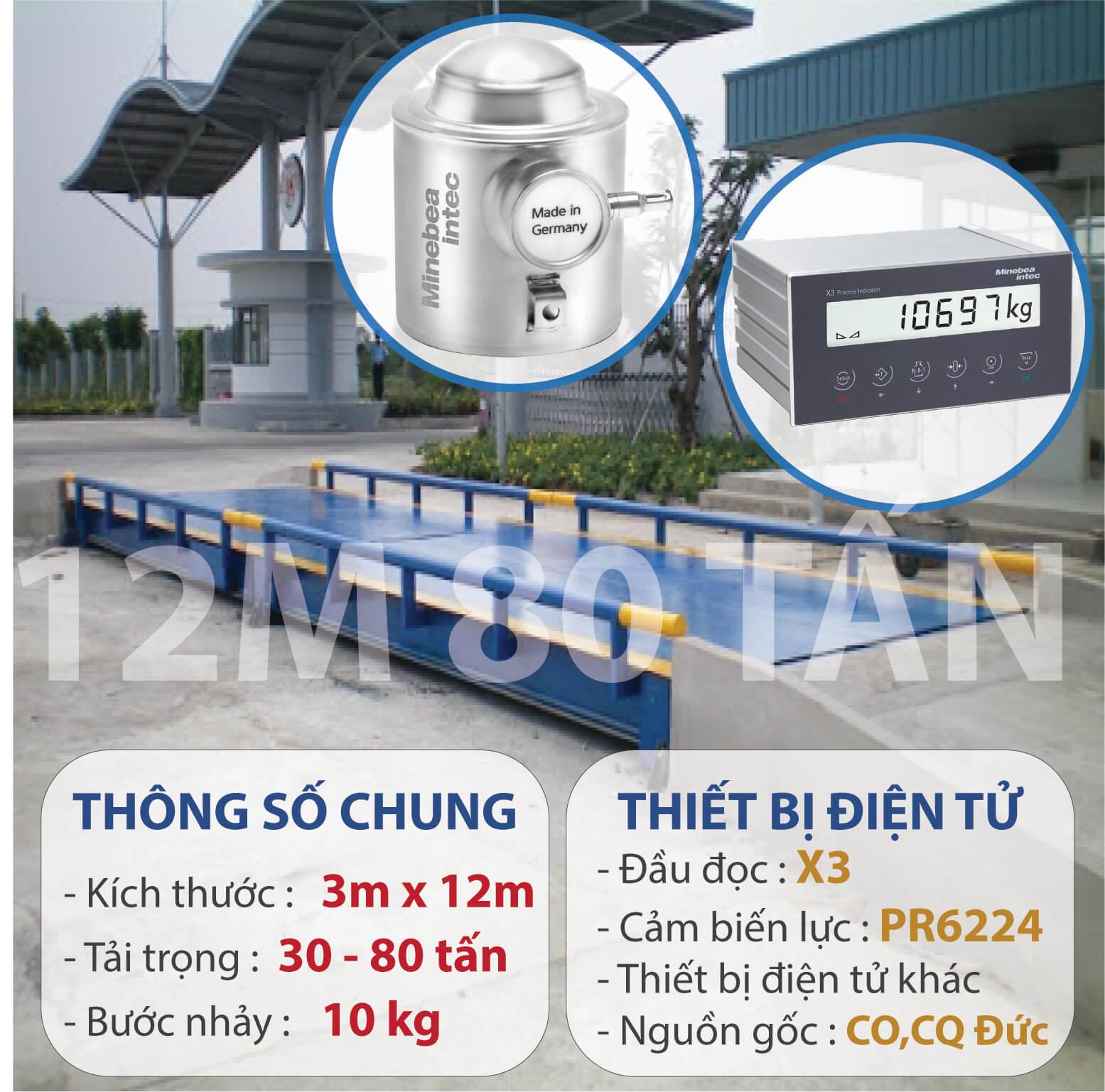 Trạm cân ô tô - xe tải 80 tấn, 12m, Digitol Đức